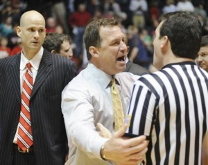 "Coach Gottfried states his case to a ref during Sunday night's loss to Mercer.  ""Dude, if you think Saban's not gonna have those guys ready to beat Auburn, you're crazy!!!"""
