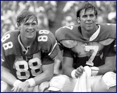 """Sullivan to Beasley.""  Terry Beasley (L) and Pat Sullivan are two of only three players with retired jersey numbers at Auburn."