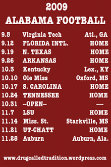 2009 UA Football Schedule
